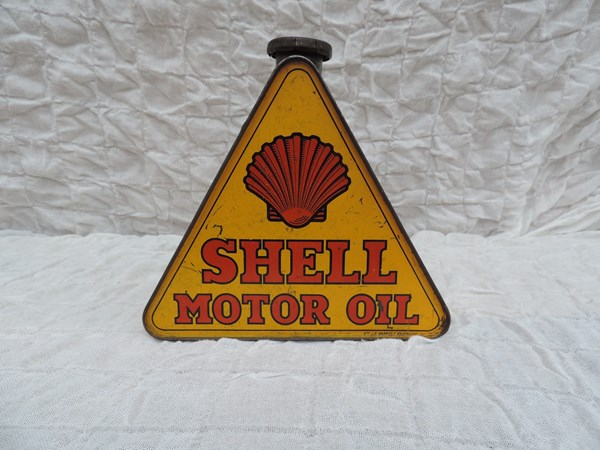 Bidon d'huile triangulaire Shell Motor Oil Golden